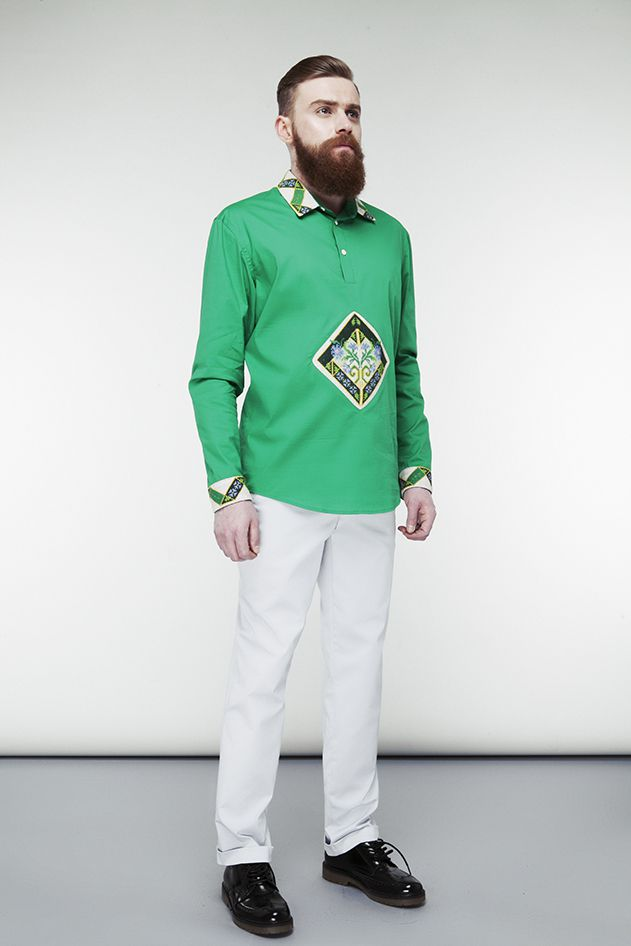 Embroidered green shirt
