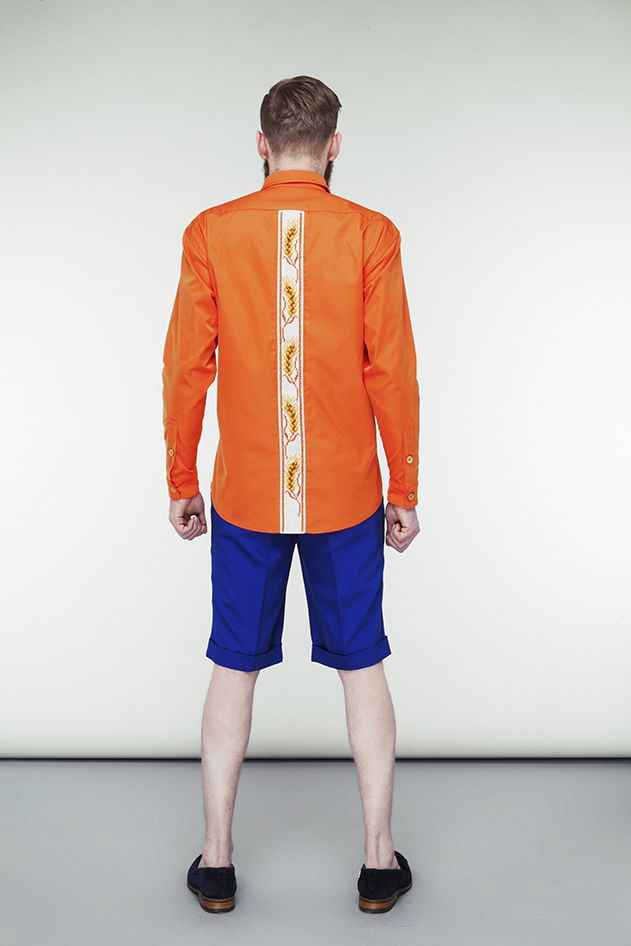 Embroidered orange shirt